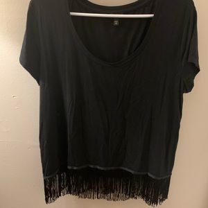 Express Fringe Short Sleeve Top sz Medium